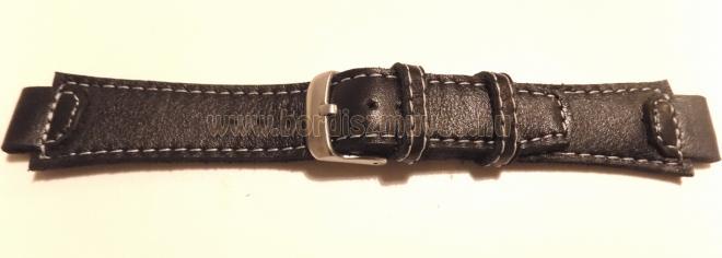 Fekete marhabőr, egyedi, óraszíj, karóraszíj, fehér fonallal varrva