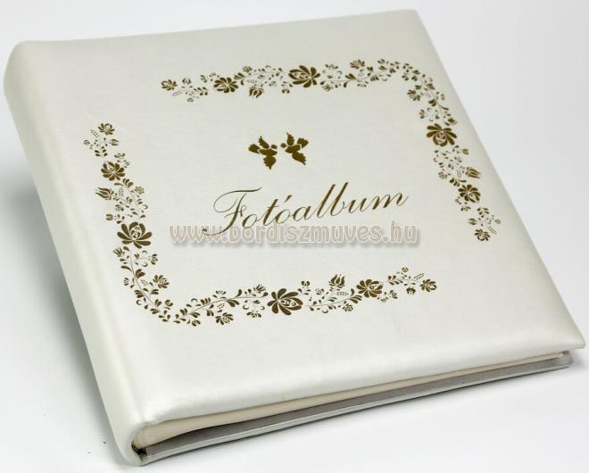 Esküvőre egyedi bőr borítású fotóalbum, gyöngyház-fehér színű marhabőr vedding