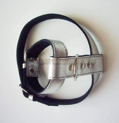 SugoDog®, csivava, egyedi, méretre készített, ezüstszínű bőr kutyahám
