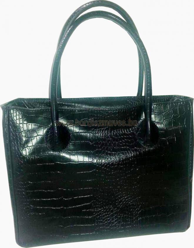 Fekete nyomott textilbőr női kézi táska, közepes fogóval, cipzárral