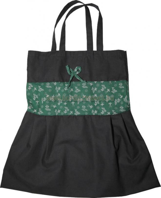 Fekete vászonból és nyomott vászonból készült textiltáska, zöld virágos betéttel