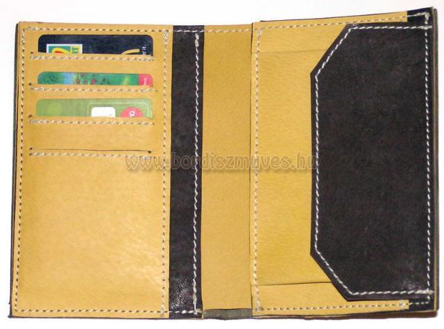 Festett, rekeszes, valódi bőrtárca, irattárca, levéltárca, pénztárca, bőr pénztá