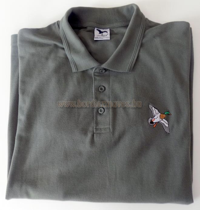 Galléros, piqe, piké póló vadkacsa hímzéssel