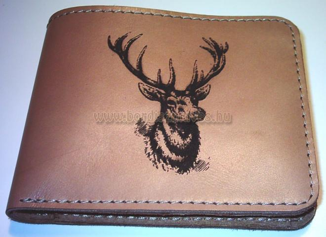 Kinyitható bőr vadász pénztárca, szarvas motívummal