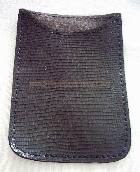 Sima, gyíkbőr jellegű, egyedi fekete sertésbőr, okostelefon tartó bőrtok iphone