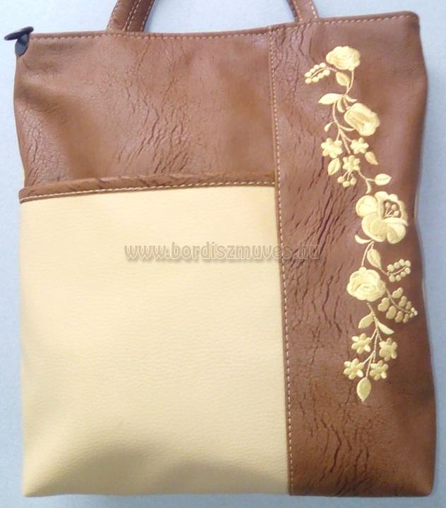 Hímzett kalocsai női váll táska textilbőr