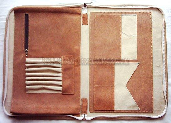 Kézzel festett, monogramos, A/4 méretű, valódi bőr irattartó mappa, sok zsebes