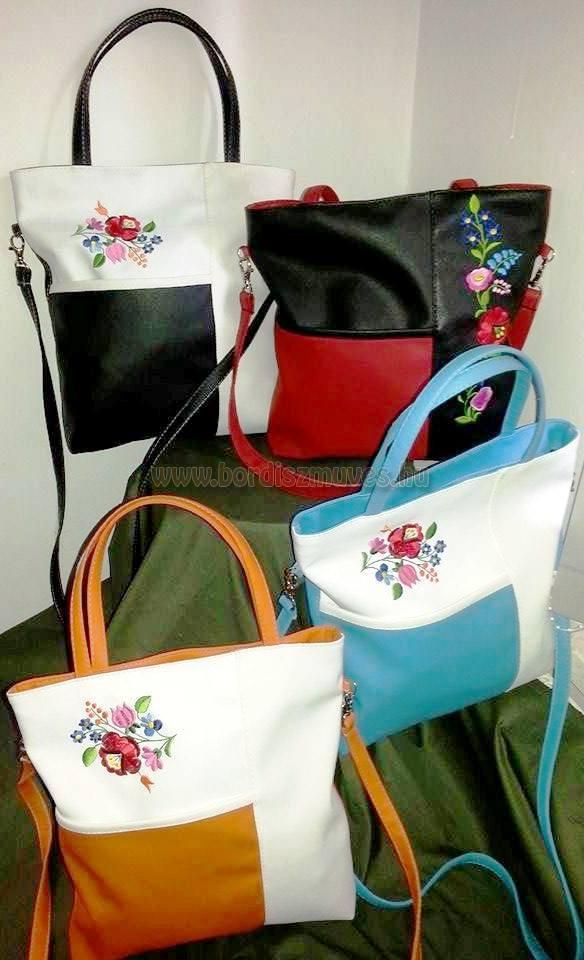 Hímzett kalocsai női kézi és váll táskák, rövid és hosszú fogóval