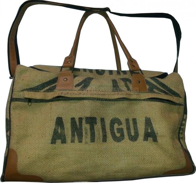 Bőr - juta, eredeti kávés zsákból válltáska, utazó táska készítés