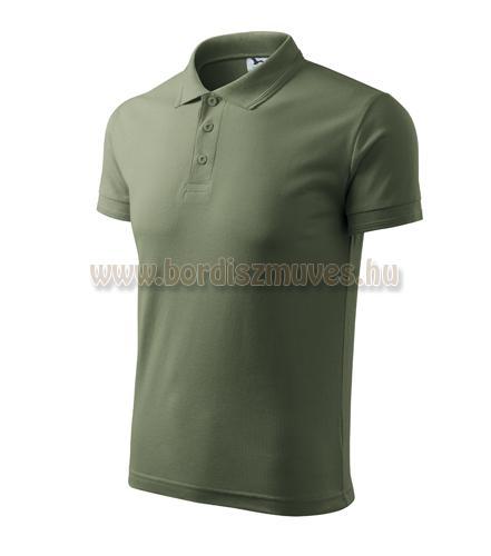 Khaki színű galléros póló
