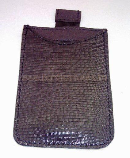 Kihúzó száras, gyíkbőr jellegű, egyedi fekete sertésbőr okostelefon tartó bőrtok