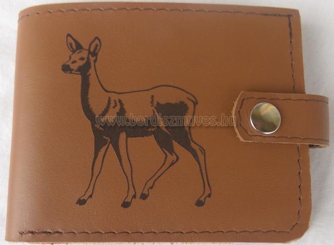 Marhabőr pénztárca ŐZ mintával, aprós én bankkártyás rekesszel