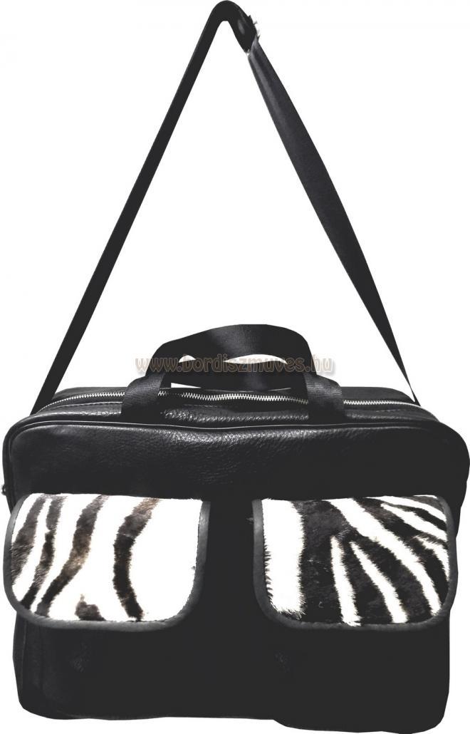 Férfi marhabőr táska zebra bőr rátéttel Jagdtasche Zebra