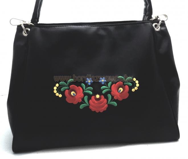 Matyó mintás, matyó hímzett fekete női  táska
