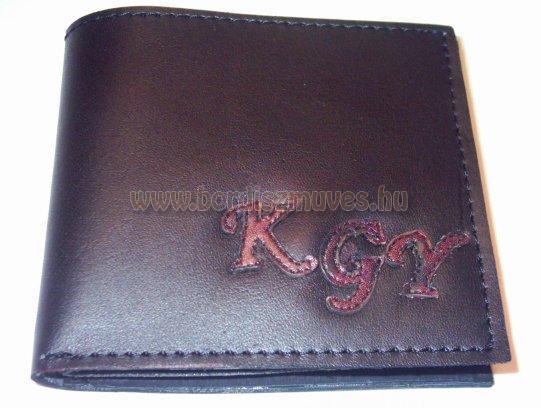 Marhabőrből készített, monogramos valódi bőrtárca, összecsukható pénztárca