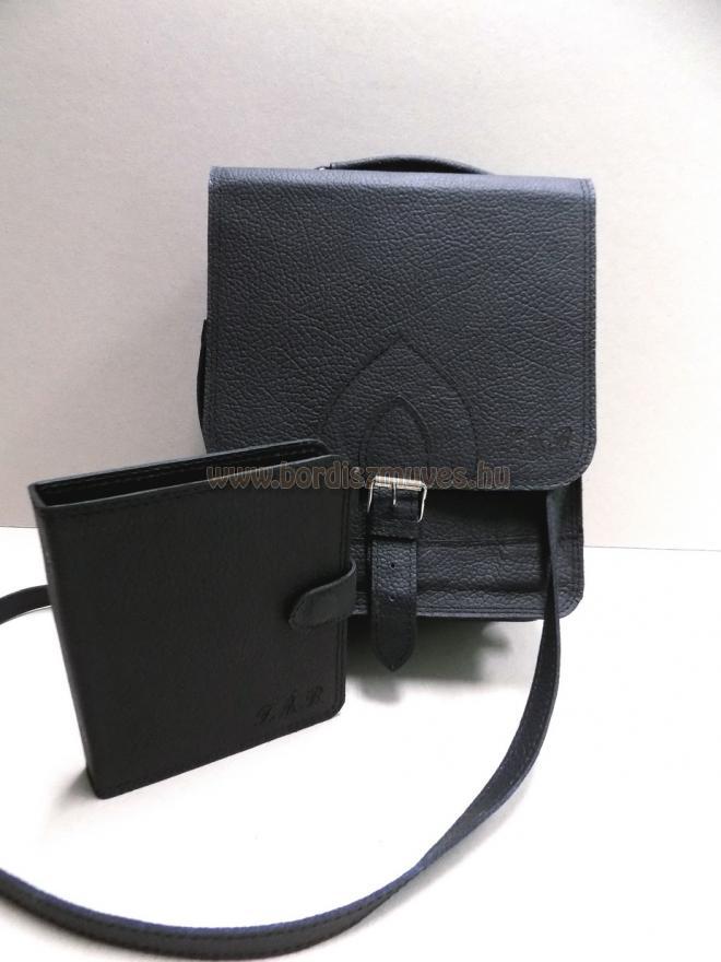 Egyedi monogramos marhabőr táska, férfi válltáska, monogramos marhabőr mappa