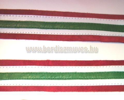 Nemzeti színű bőr nyakörv, pergős csattal, D karikával, bőr bújtatóval, varrás