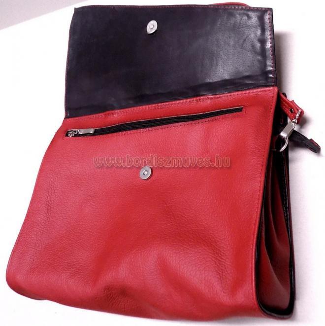 Egyedi női marhabőr kézi táska, rövid és hosszú fogóval (füllel) külső rész