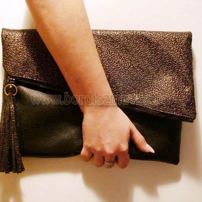 Vehrdesing, egyedi női táska, mappatáska, barna - világos barna nyomott textilbő