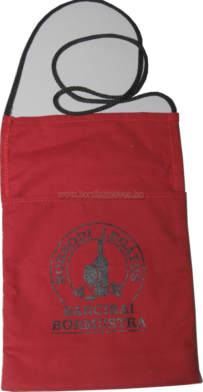 Borospohár tartó zsák, tasak, tarisznya, nyakba akasztható kivitelben, vászonból