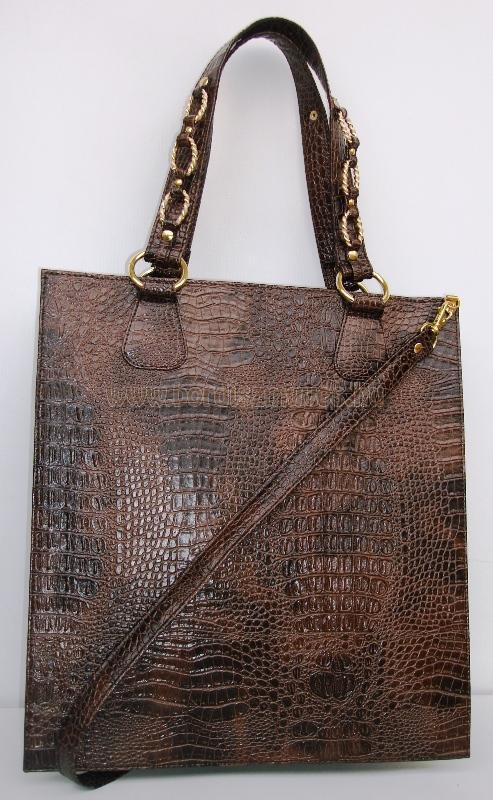 Barna, nyomott kroko női bőrtáska, egyedi Kroko női táska, női divattáska, kézi