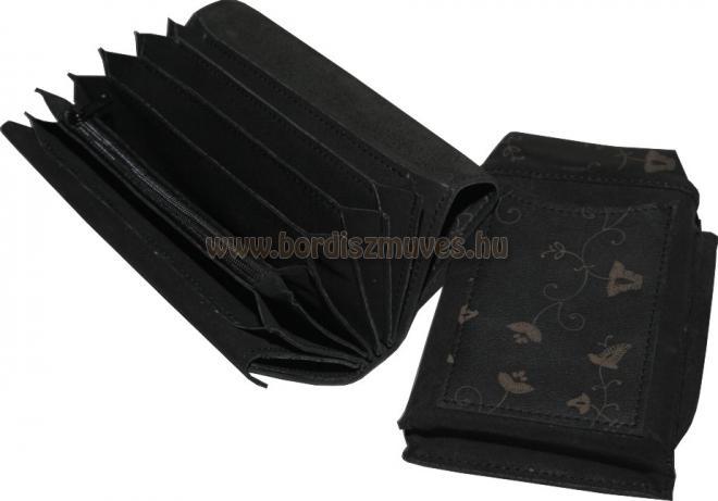 Egyedi, kézzel készített, fekete nyomott marhabőr brifkó és brifkó tartó
