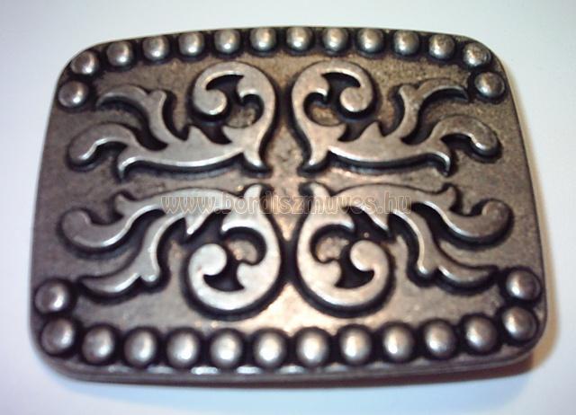 Téglalap alakú, öntött antikolt övcsat, csat, derékszíjra, nadrágszíjra, bőr öv