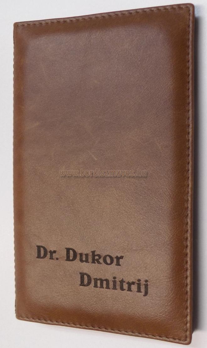 Egyedi bőr orvosi recepttartó név felirattal