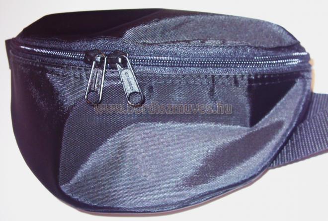 Fekete gyöngyvászon oldaltáska, övtáska, cipzáros zsebekkel