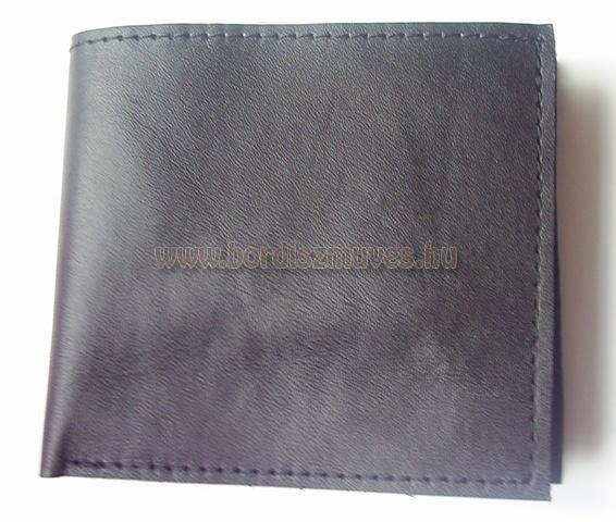 Kis alakú, egyedi, fekete marhabőrből készített, pénztárca, valódi bőrtárca
