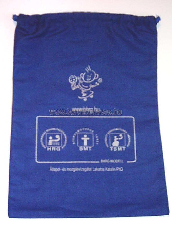 Kék festett vászon zacskó gyártása tetszőleges méretben, szitázása, nyomása