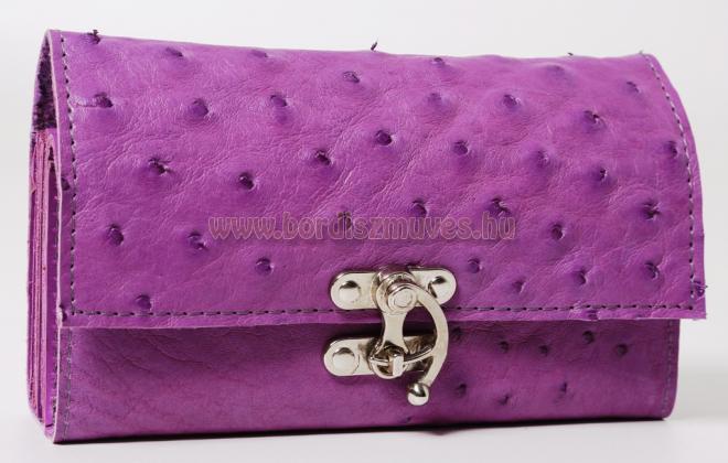 Egyedi, lila strucc bőr, kallantyús brifkó