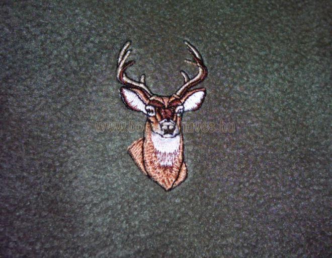 Hímzett polár, termó vadász sál, szarvas fej hímzéssel