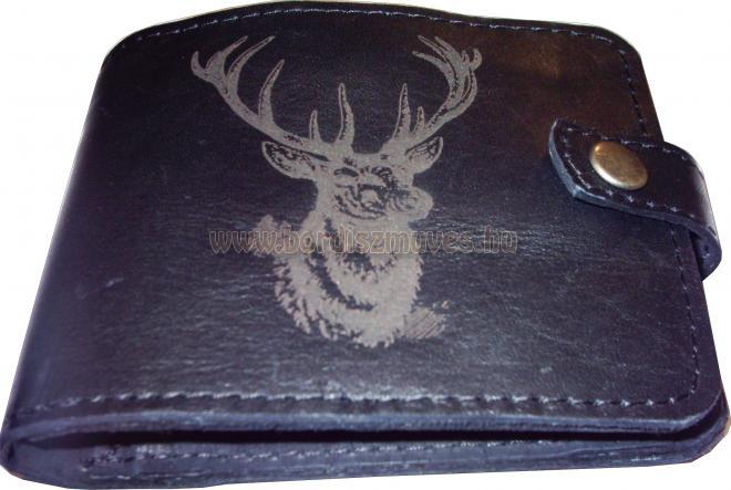 Marhabőr pénztárca szarvasfej mintával, kártyatartóval, aprópénzes rekesszel