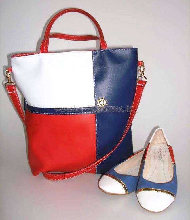 Piros-kék, tengerész női válltáska, kézitáska, piros és kék textilbőrből, arany