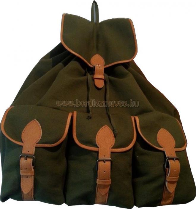 Vadász hátizsák, zöld ponyvából, nagy méretben