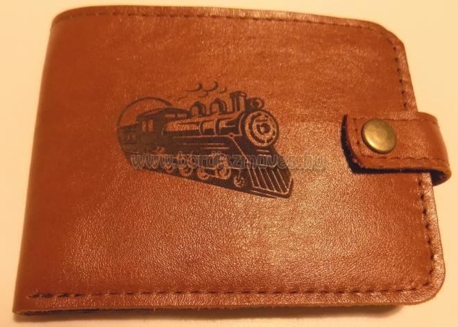 Férfi bőr pénztárca mozdony dísszel, nem csak vasutasoknak