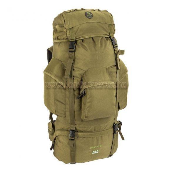 Vízhatlan túrazsák, vadász hátizsák, zöld színű, 80 literes, poliészter anyagú