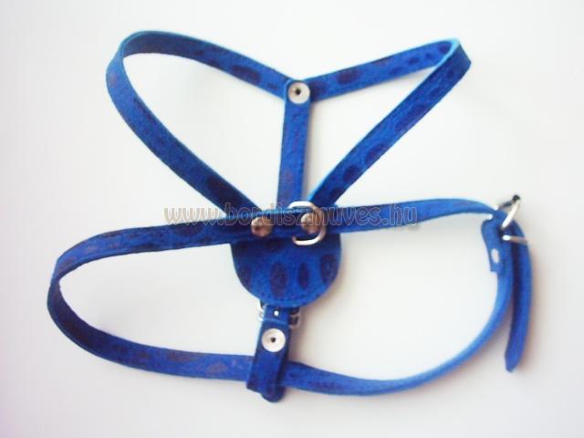 SugoDog®, bőr kutyahám, méretre készített, kék, nyomott marhabőr
