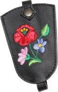 Egyedileg készített, behúzószáras kulcstartó, kalocsai hímzett bőr kulcstartó